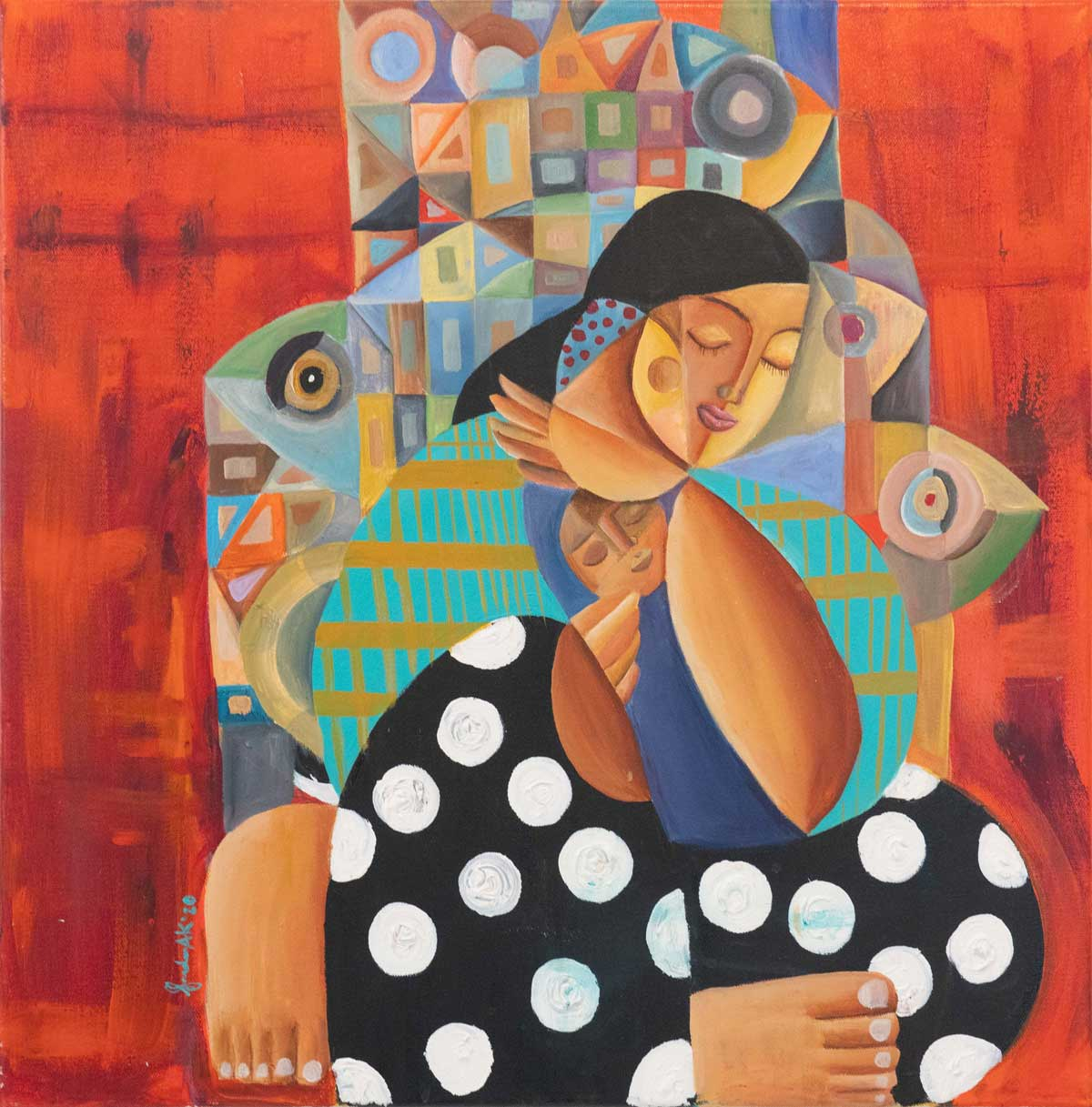Expectations (Mother & Child) 2021, 60 x 60 cm